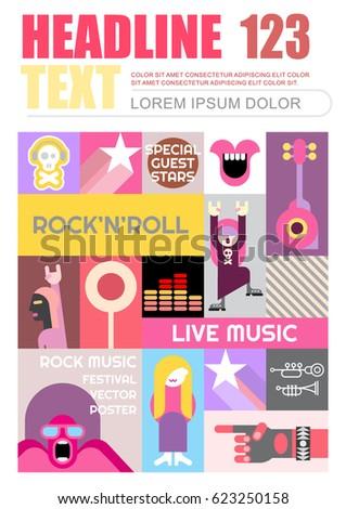 Rock Concert Flyer Template Design Vector Stock Vector 623250158