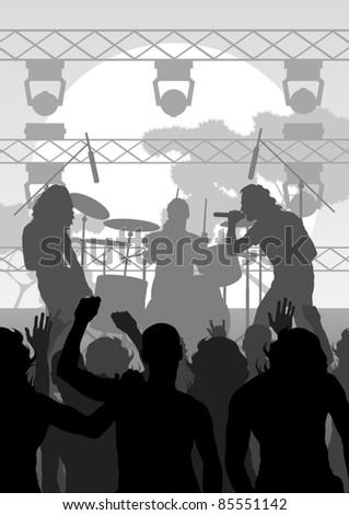 Rock concert landscape background illustration - stock vector