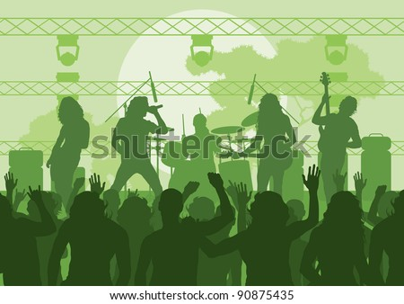 Rock concert landscape background illustration - stock vector