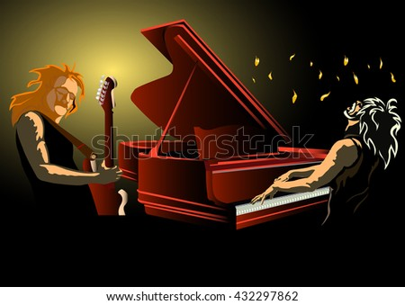 Rock concert. Musical duo - guitarist and pianist - stock vector