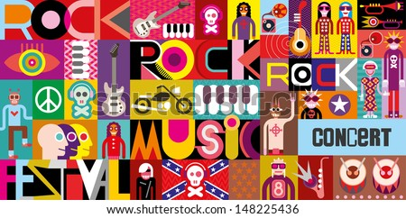 "Rock Concert Poster. Musical collage - vector illustration with inscriptions ""Rock Festival"", ""Rock Music"" and ""Rock Concert"". Vector EPS10. - stock vector"