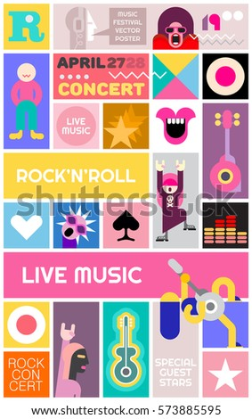 Rock Concert Poster Template Music Festival Vector Collage