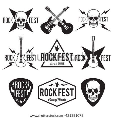 rock fest music badgelabel vector set stock vector