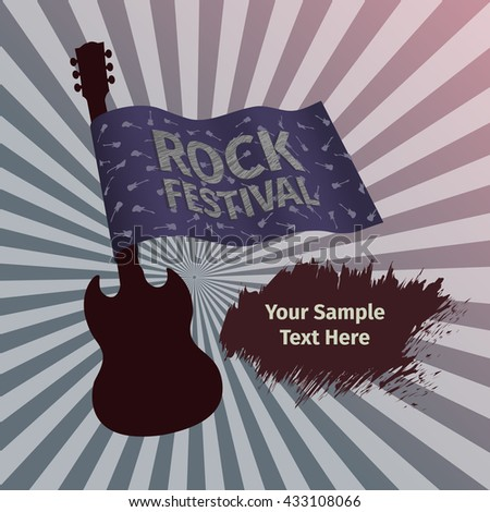 Rock festival banner with guitar and flag - stock vector