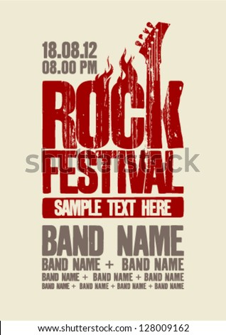 Rock festival design template with bass guitar and place for text. - stock vector