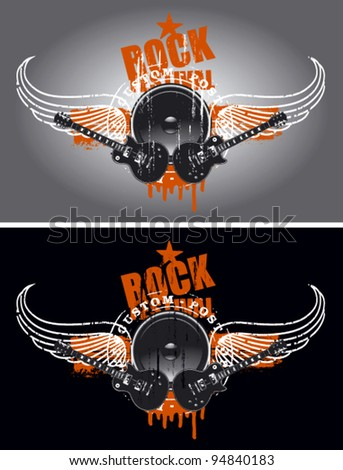 rock festival shield with wings and speaker - stock vector