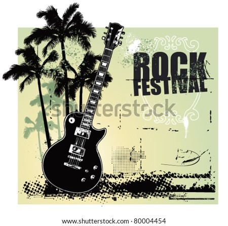 rock festival with summer scene and guitar - stock vector