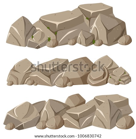 Rock formations in three patterns illustration