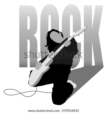 rock girl plays solo guitar - stock vector