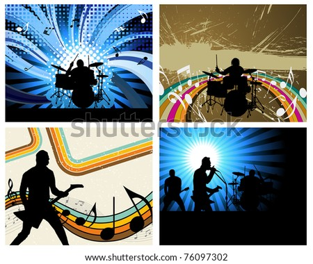 Rock group set. Vector illustration for design use. - stock vector