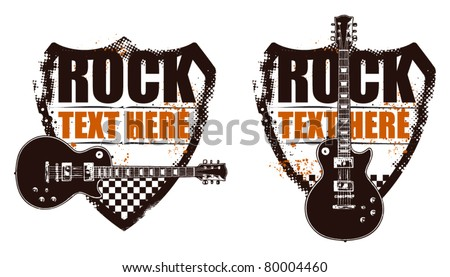 rock grunge shield with guitar - stock vector