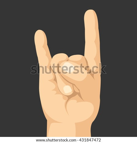 Rock hand gesture. Sing of the horns. Realistic vector hand with rock sign. Vector illustration isolated on black background