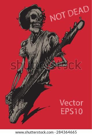 Rock Human Skeleton Musician Playing Bass Concert Poster Stock Vector Illustration
