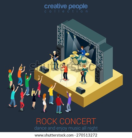 Rock music band pop professional scene concert flat 3d web isometric infographic concept vector. Group creative young people playing instruments impressive performance. Creative people collection. - stock vector