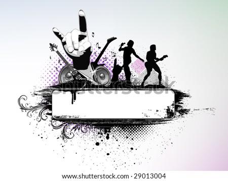Rock music banner - stock vector