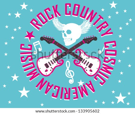 rock music electronic guitar tattoo skull vector art - stock vector