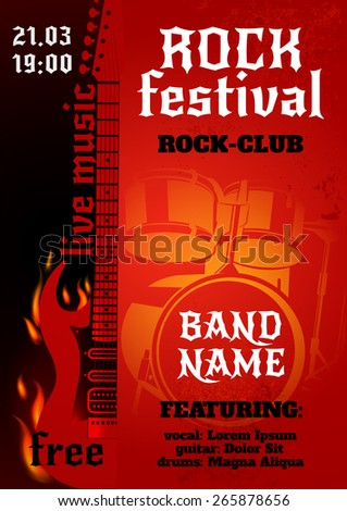 Rock music group concert or festival poster with burning guitar and drums vector illustration - stock vector