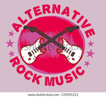 rock music guitar vector art - stock vector