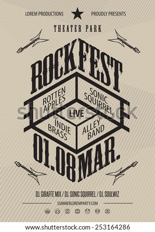 Rock music poster template. Hidden layer included with text instructions. - stock vector
