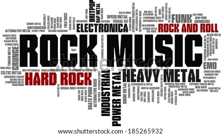 Rock Music Styles Word Cloud Bubble Tag Tree vector - stock vector