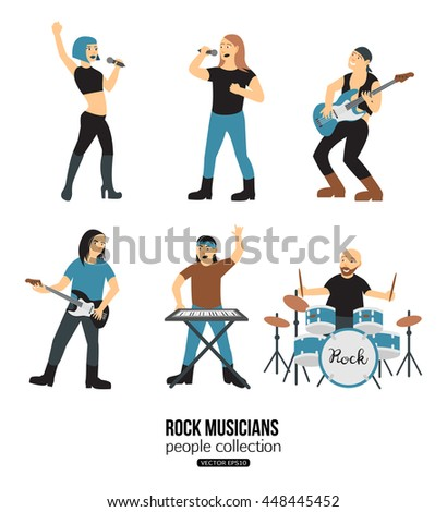 Rock musicians cartoon isolated on white background. Band of instrumentalist vokalist, guitarist, keyboardist, drummer. Woman singer character. Vector eps 10 format. - stock vector