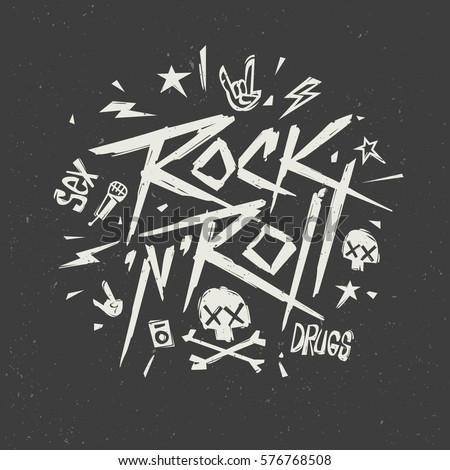 Rocknroll music creative lettering modern style grunge poster print label isolated