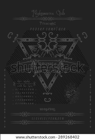 Rock or metal music concert  poster template. Vector illustration.  - stock vector