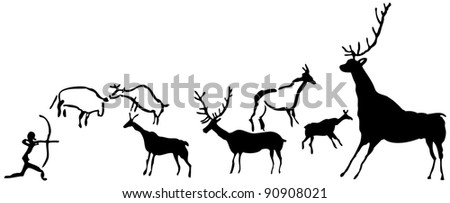 Rock paintings - stock vector