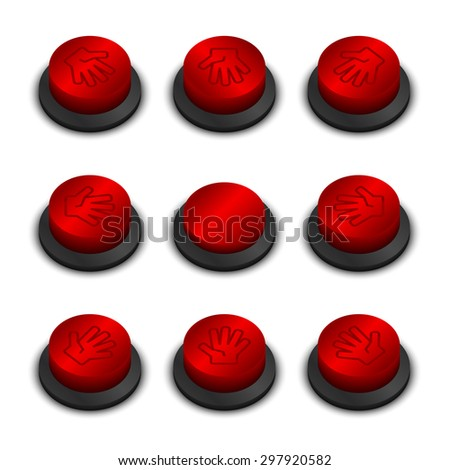 Rock-paper-scissors buttons red color on white background with shadow - stock vector