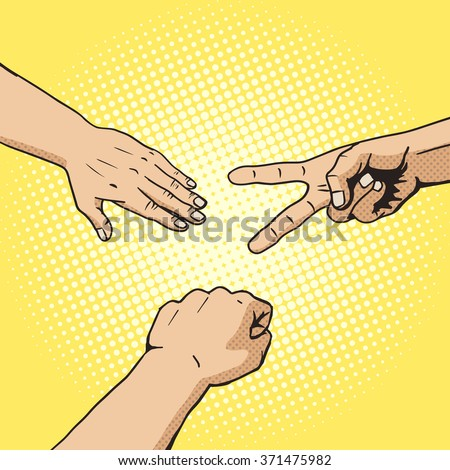 Rock paper scissors hand game pop art style vector. Comic book style imitation. Vintage retro style. Conceptual illustration - stock vector