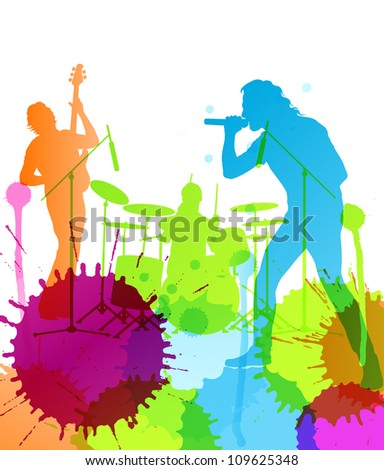 Rock pop band  colorful spots and splash vector background