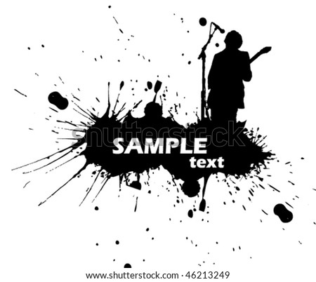 rock singer with a guitar - vector sign - stock vector