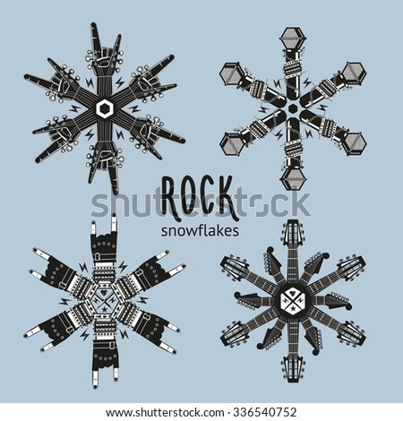 Rock snowflakes set.   Snowflakes constructed from musical equipment. Decoration for Christmas party. - stock vector