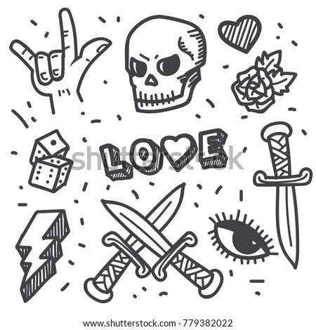 Rock Star Punk Rock Generation Doodle Stock Vector 779382022 ...