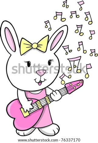 Rock Star singer Rabbit Bunny Vector Illustration - stock vector