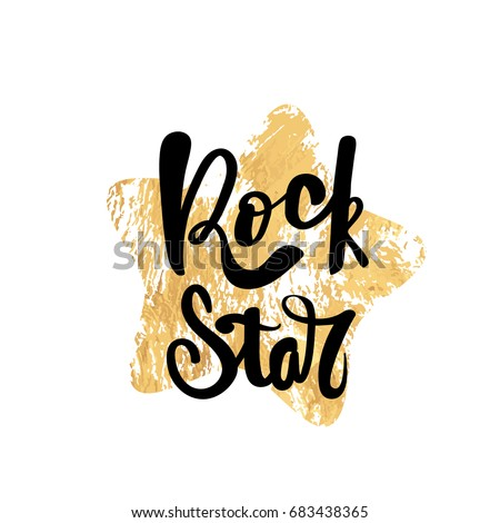 Rock Star Typography Poster Handmade Lettering Stock Vector 683438365
