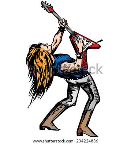 rocker guitarist solo  - stock vector