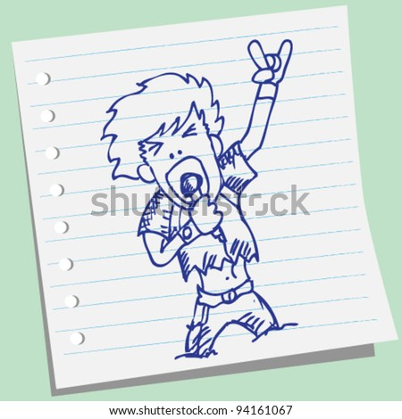 rocker vocalist doodle illustration vector - stock vector