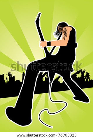 Rocker with guitar - stock vector