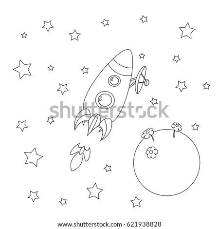 Rocket Coloring Book Rocket Planet Stars Stock Vector 621938828 ...