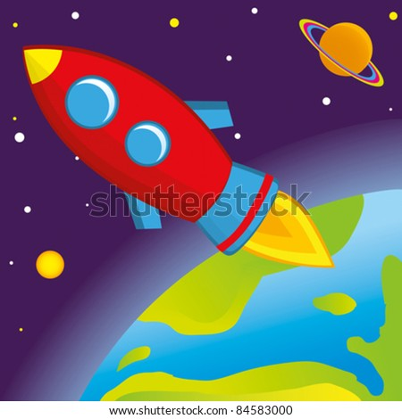 rocket flies into space above the Earth - stock vector
