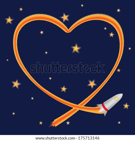 Rocket flying in space and drawing a heart with trail. Valentines day greeting card