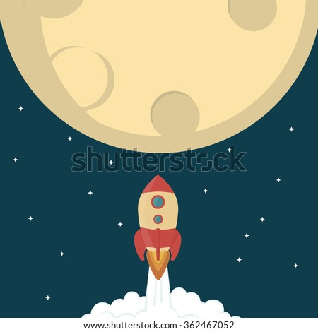 Rocket flying to Moon flat design - stock vector
