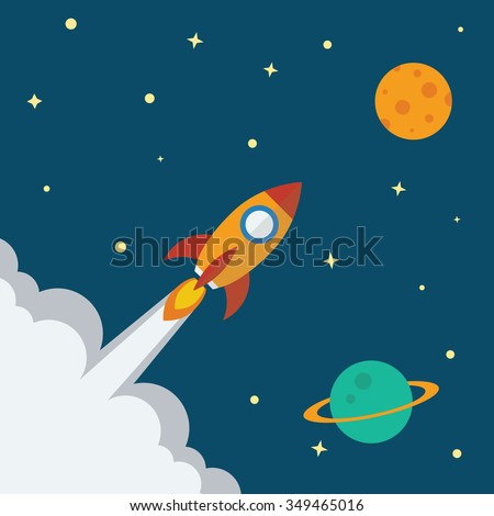 Rocket icon with space planet background flat design. Project start up - launch concept. Vector illustration.