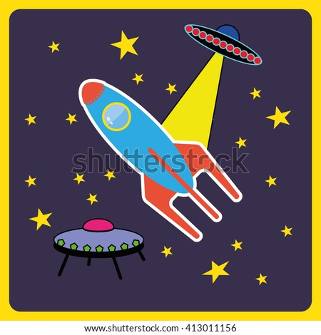 Rocket in Space between the stars. UFO and a flying shuttle flat style icon illustration. Blue and red spaceship with a porthole in dark blue space. Digital vector image.