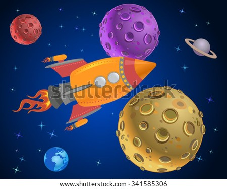 rocket in space expedition. - stock vector