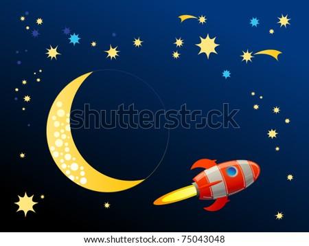 Rocket in space, vector illustration - stock vector