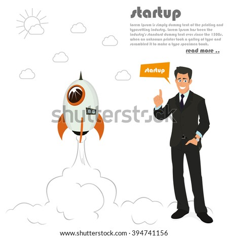 rocket launch. business concept to launch a new project. starting a new business. vector illustration. startup business, startup flat, startup icon, startup art, startup web, startup vector - stock vector