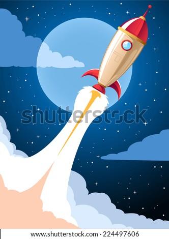 Rocket launch cartoon  - stock vector