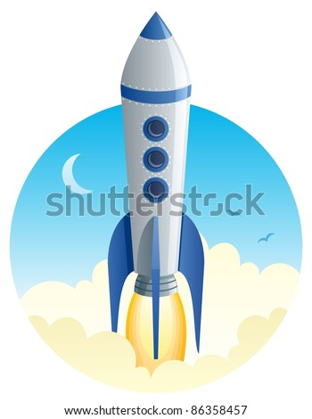 Rocket Launch: Cartoon illustration of a rocket taking off. No transparency used. Basic (linear) gradients. - stock vector